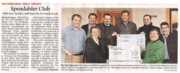 Artikel in der Tegernseer Zeitung, 19.01.2015